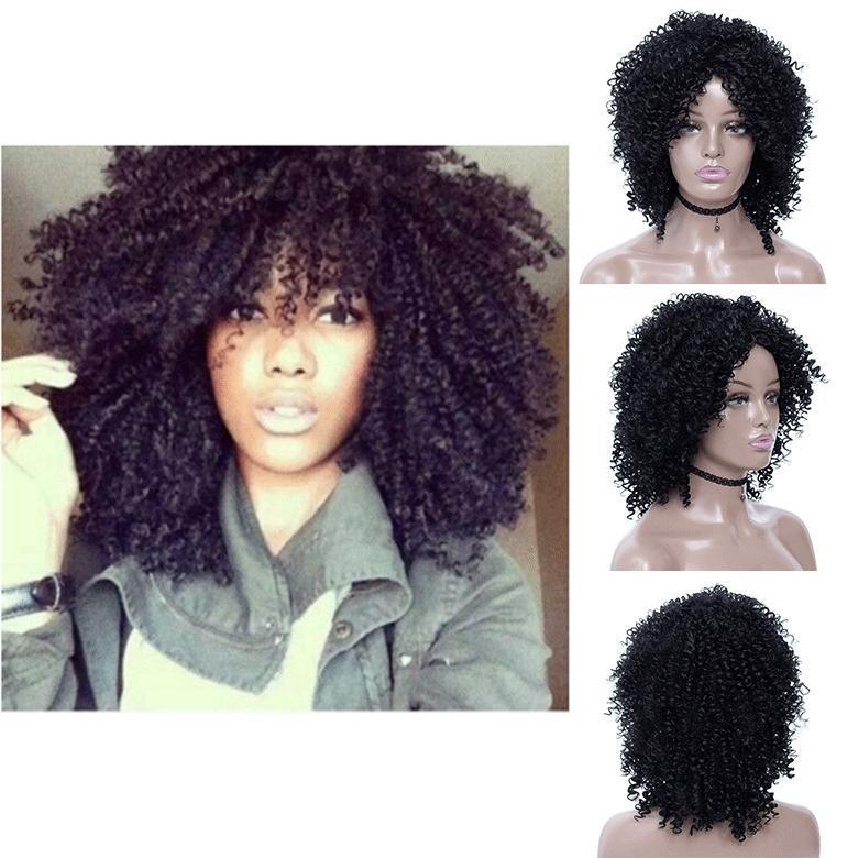 Women Afro Short Synthetic Bob Straight Hair Cheap Side Bang Chemical Headgear Dyed Partial Short Fiber Heat Resistant Wig
