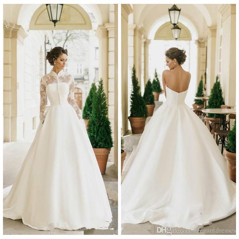 Vestido de una línea de vestidos de boda con la manga larga de cuello alto vestidos de novia 2021 Modest personalizada Vestidos de matrimonio a largo vestidos formales