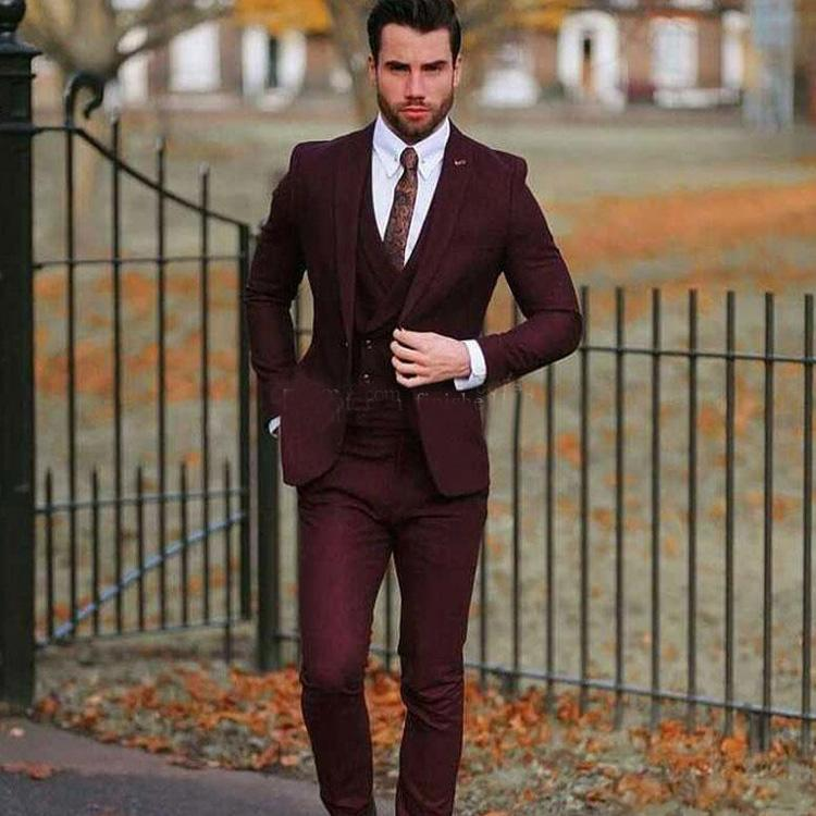 Burgundy 3 Pieces Slim Fit Notch Lapel Groom Tuxedo Best Man Formal Wedding Suit