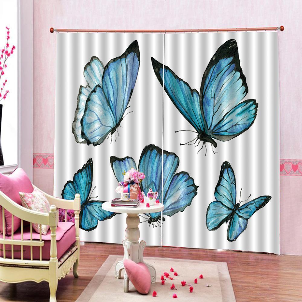 Blauer Schmetterling Vorhänge 3D Blackout Fenster Vorhänge für Wohnzimmer Büro Schlafzimmer Vorhänge Blackout Vorhang