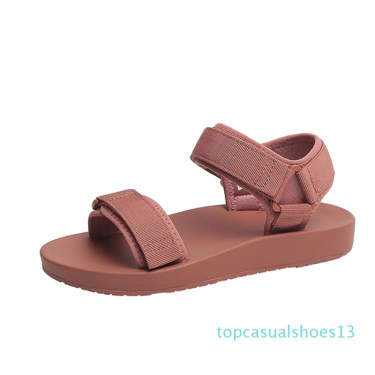 Zapatos gruesos Plataforma Binhbet sandalias de cuero de las mujeres 2019 del verano mujeres hebilla de la manera casual con suela gruesa t13 Mujer de la playa de la sandalia