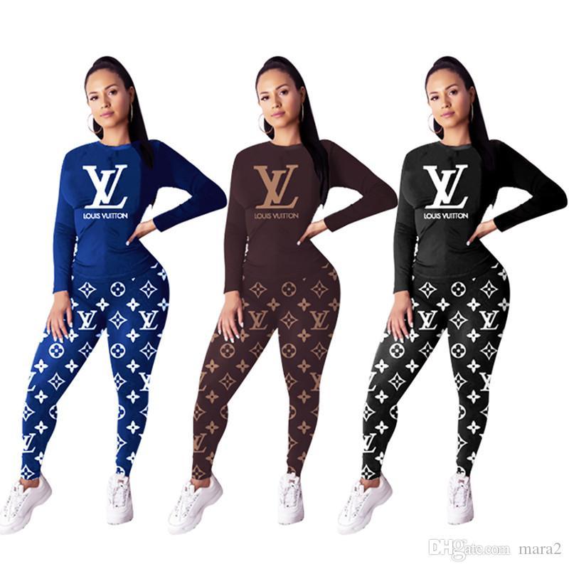 Kadınlar marka mektup 2 parçalı set jogging yapan sonbahar kış giyim seksi sweatshirt pantolon spor eşofmanı kazak tozluk kıyafetler dış giyim 2324