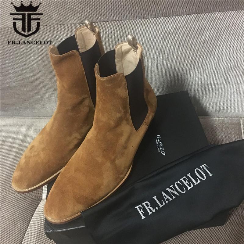 High End a mano da uomo Mucca pelle scamosciata Stivali Hot Street West qualità Slip-On Genuine Leather Denim Boots
