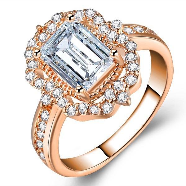 20200416 venta caliente nueva oro rosa plateado de circón joyería de compromiso de la princesa anillo de la moda en Europa y América