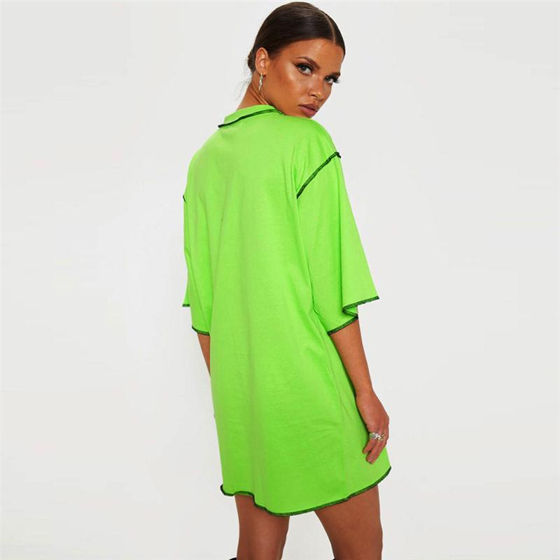 Été Femmes Patchwork long T-shirts manches moitié en vrac dames solides T-shirts ras du cou Mode Femme Vêtements