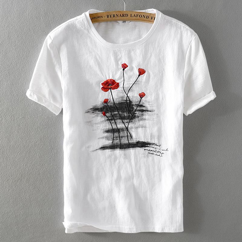biancheria 2018 dei nuovi uomini di estate maglietta classico girocollo sciolto casuale bianco uomini della maglietta a maniche corte ricamo maglietta mens Camisa