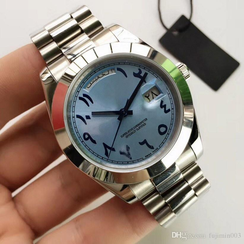часы мужские 40мм день Ancient араб автоматические механические часы Батарея не подметать движение из нержавеющей стали Дата часы 2813 совершенной работы