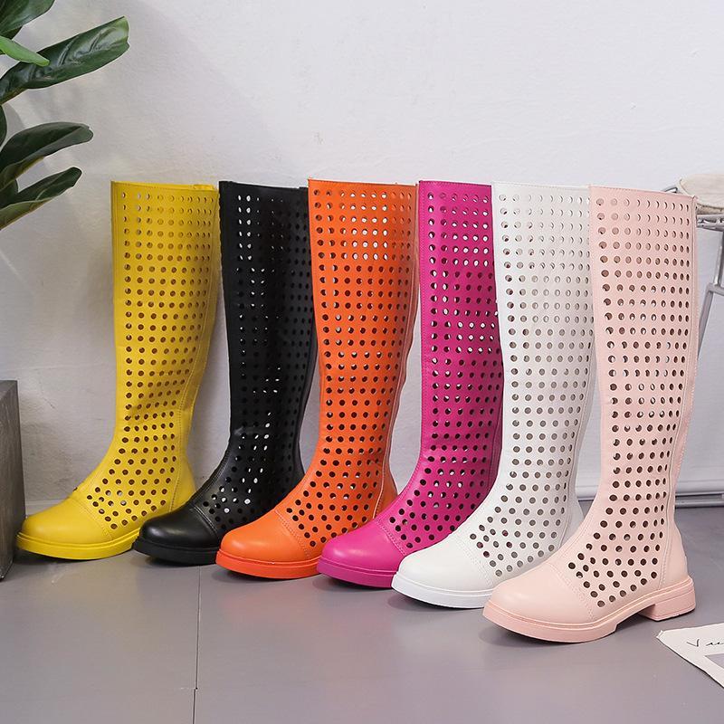 여성 신발 여름 부츠 사탕 색 한국어 스타일 무릎 높은 오토바이 부츠 섹시한 플랫 라운드 발가락 쿨 EUR35-39