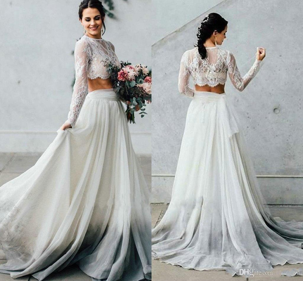 2019 Spring Summer Two Piece Wedding Dresses With Long Sleeves A Line Chiffon Boho Lace Bride Dresses Beach Style Bohemian Australia 2019 From