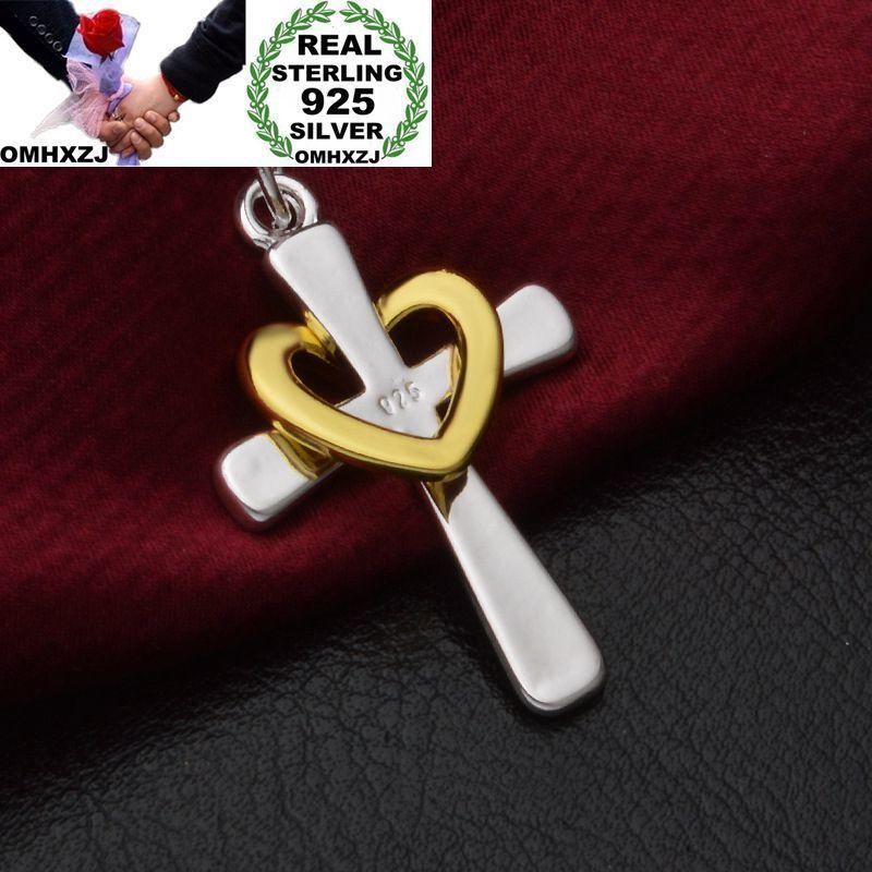OMHXZJ Wholesale Personality Fashion Woman Girl Gift Cross Heart 925 Sterling Silver 18KT Gold Charm Pendant Necklace CH92