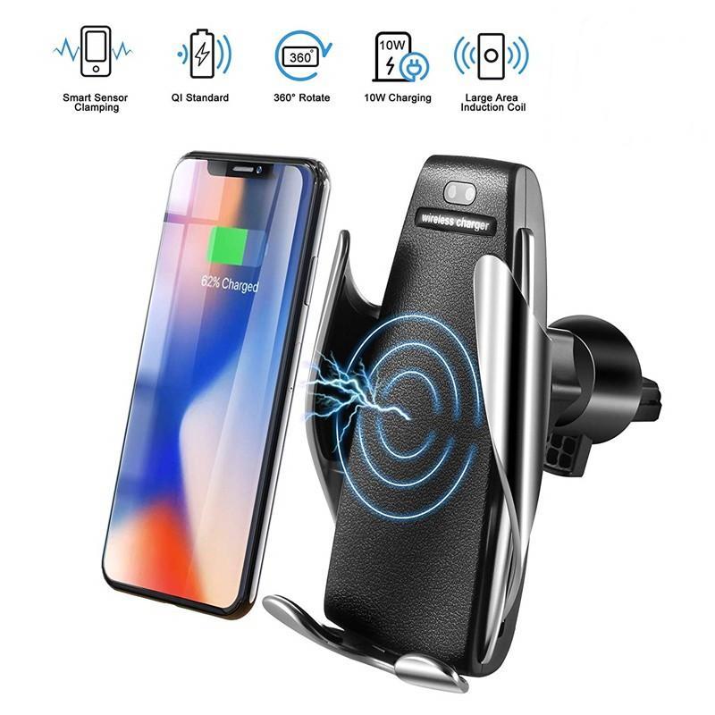 Caricabatterie wireless per auto sensore automatico S5 per iPhone Xs Max Xr X Samsung S10 S9 Caricabatterie per auto veicolare intelligente a infrarossi veloce Wirless