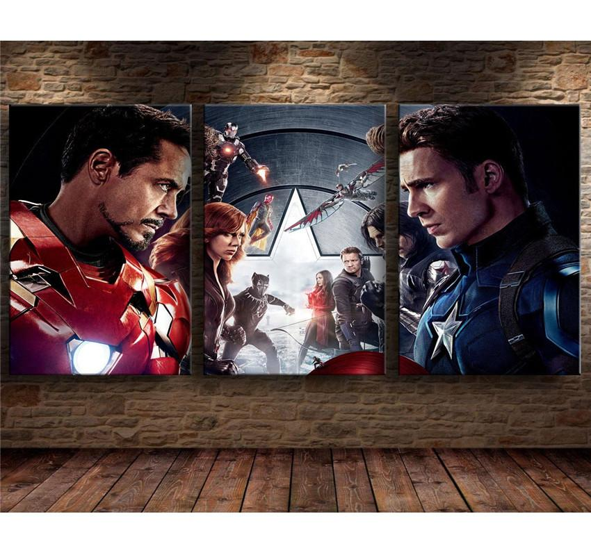 Captain America Iron Man HD Canvas prints Painting Home decor Picture Wall art