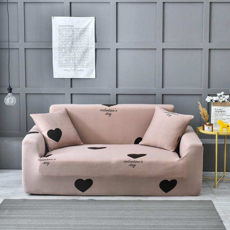 Pink Heart Elastic Sofa Cover Two and four Seats Modern Living Room Slipcover Stretch Furniture Case L Shaped Corner Couch Cover