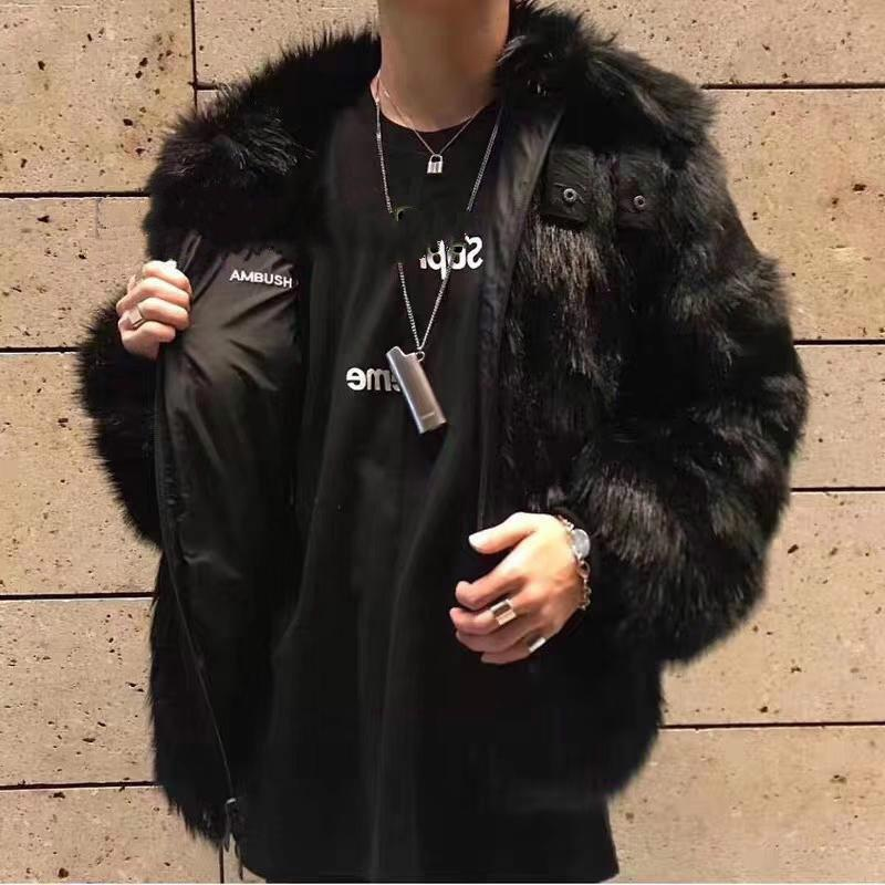 2019 USA Ambush Collaborate Two Sides Reversible Wear Faux Fur Bomber Jacket Winter Warm Coats Couple Fashion Fur Street Outerwear