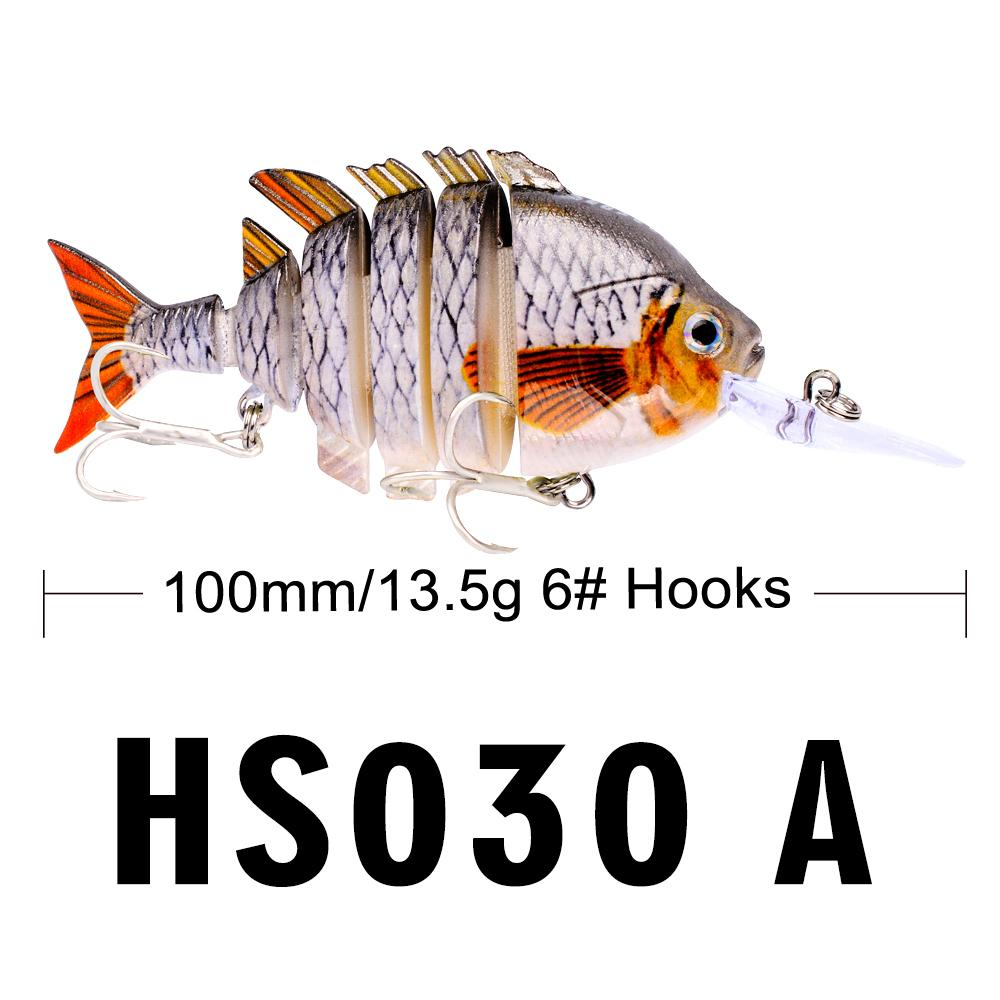 New Design 6 Sections Fishing Lure 10cm-13.67g Swim Bait 8# Hook Fishing Tackle 14 Color Fishing Bait 2019 Hot