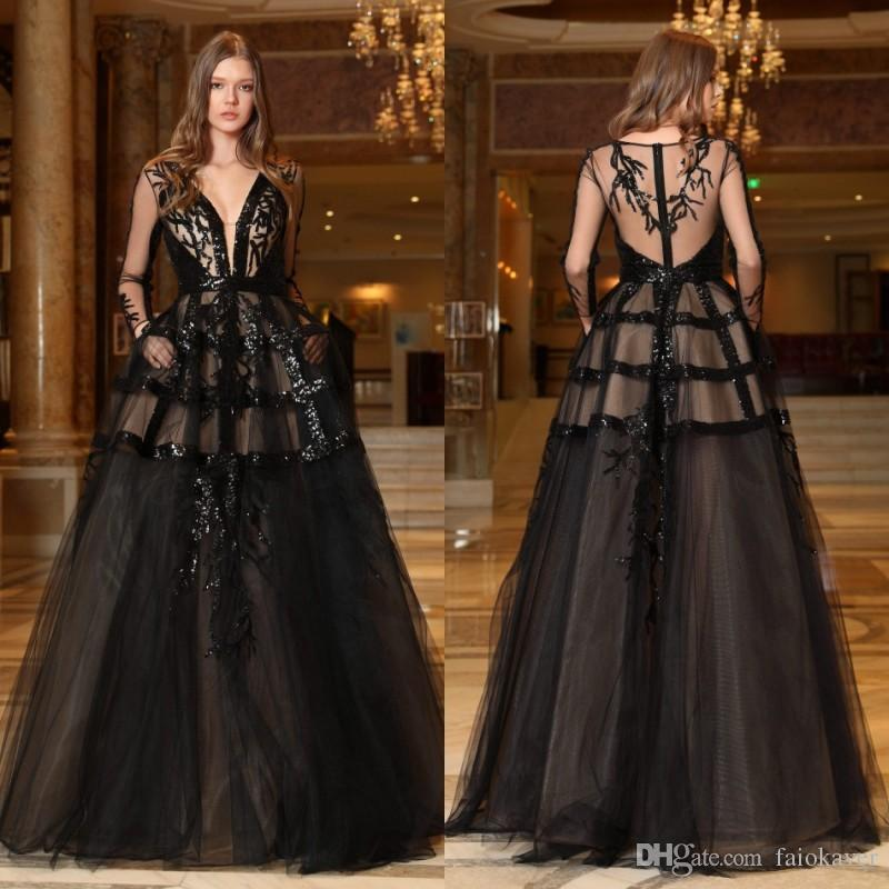2019 Black Prom Dresses Berta Deep V Neck Lace Sequins A Line Long Sleeve Evening Dress Party Wear Custom Made Cocktail Party Gowns