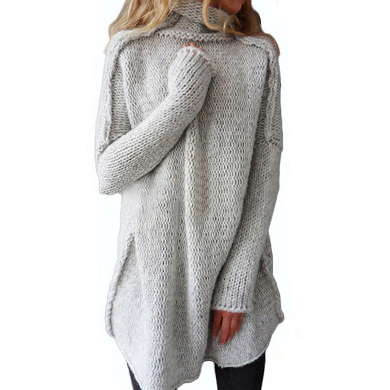 Fashion- New Autumn Winter Fluffy Sweaters Women's Turtleneck Lady's Sleeve Jersey Warm Pullover Female Knitted Coat Half-hearted