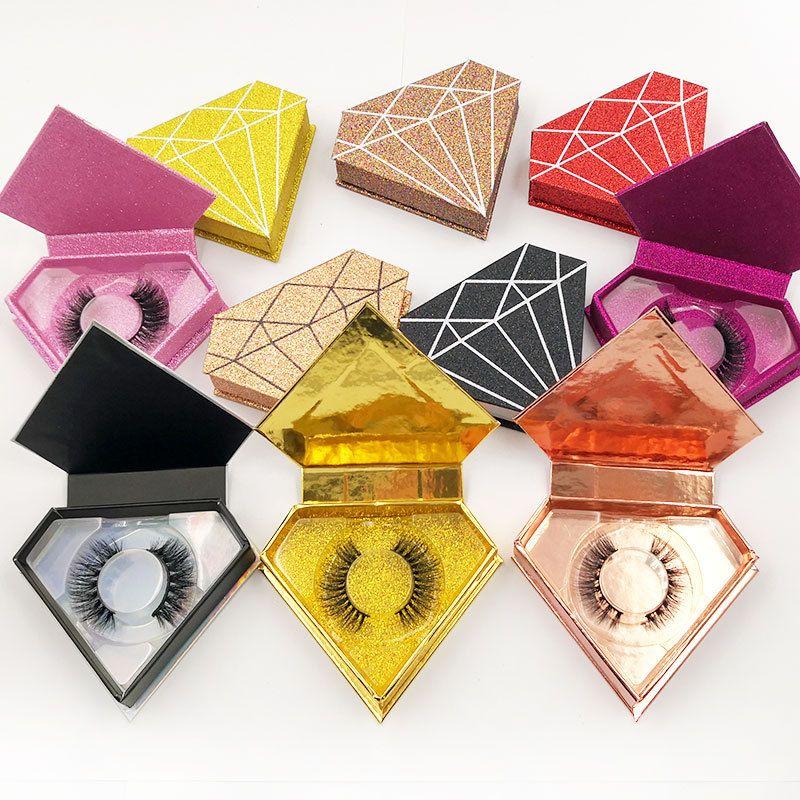 거짓 속눈썹 포장 상자가있는 3D 밍크 속눈썹 두꺼운 자연 긴 눈 속눈썹 다이아몬드 케이스 선물 상자 사용자 정의 로고