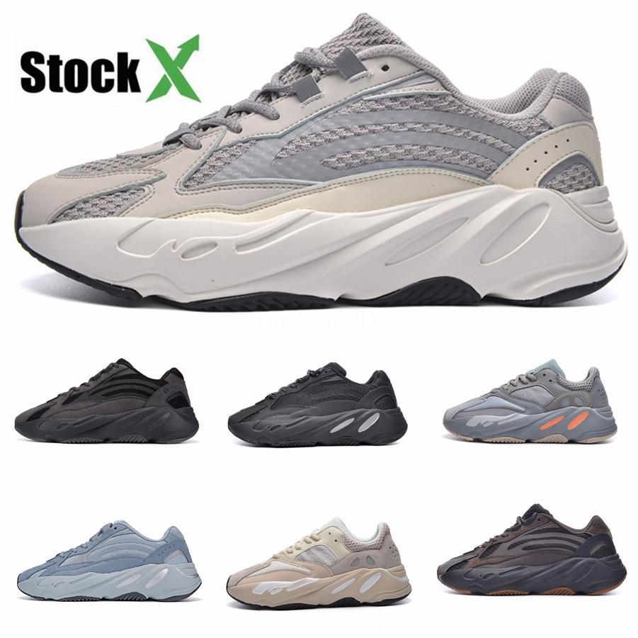 Vague Mens 700 Chaussures Casual Inertie Designer Chaussures de sport New Mauve V2 statique Kanye West Chaussures de sport avec la boîte # QA913 5 à 11,5