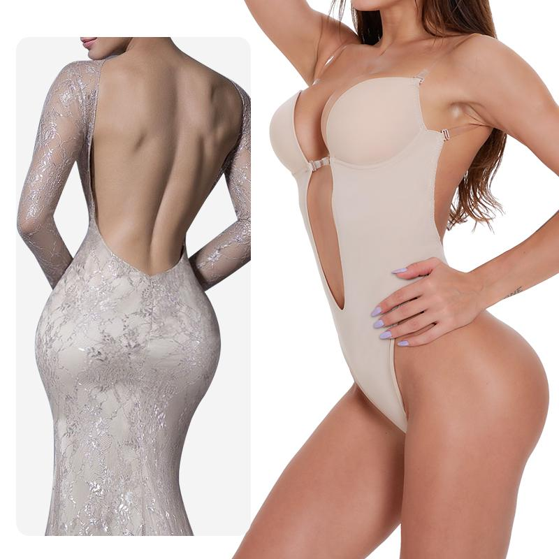 Kadınlar Vücut karın Shaper ShapewearDeep V Bodysuit Temizle Askı Backless Thong itin Dalma Yukarı Bra yastıklı