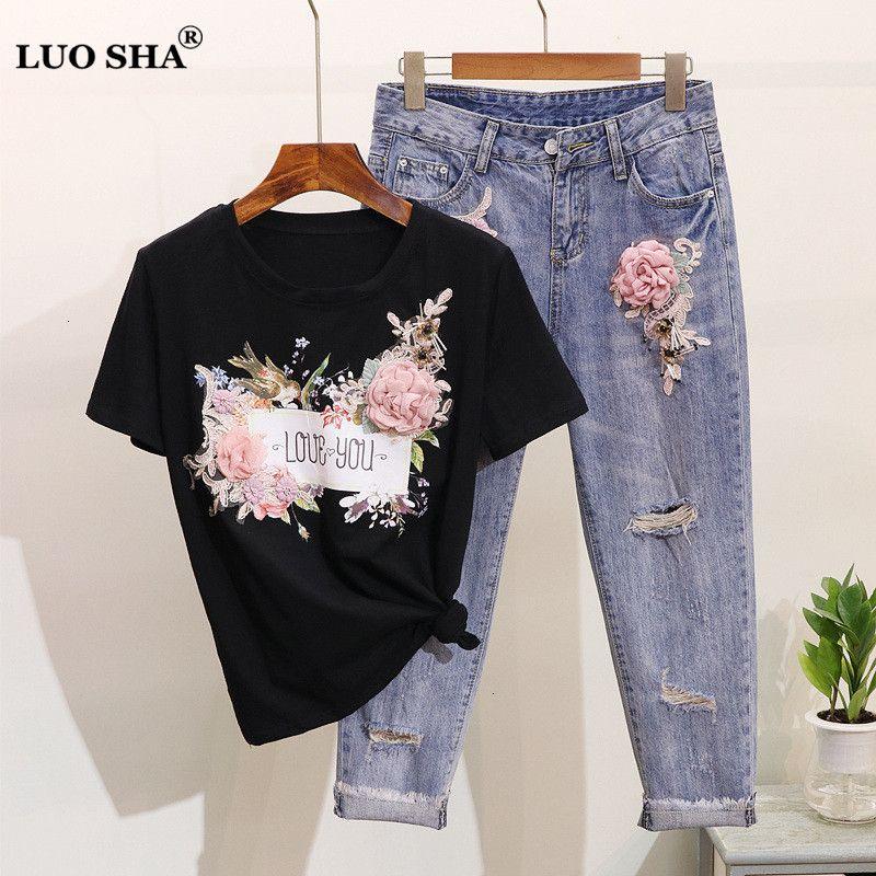 LUOSHA Women 2019 2Pcs Summer Stylish Embroidery 3D Flower Short Sleeved Tshirt+Heavy Work Jean Rippered Hole Denim Pants Suit T190924