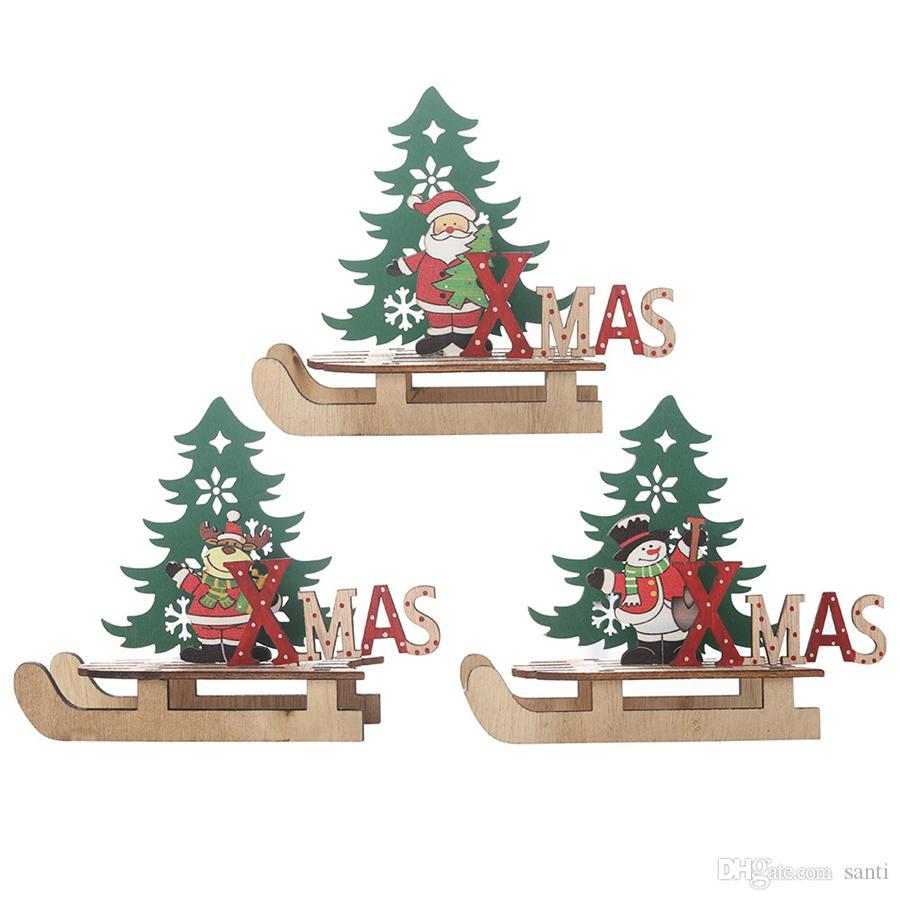 Christmas Wooden DIY Santa Snowman Deer Sleigh Ornaments Cartoon Tree Combination Craft Ornaments New Year Decoration For Home JK1910