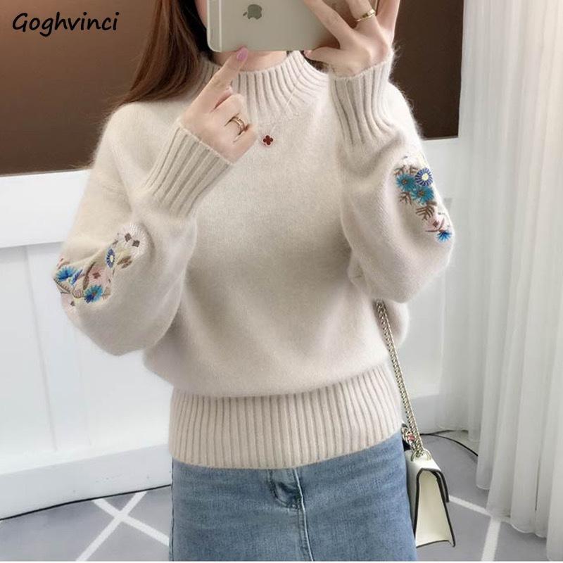 Свитера женской зимней водолазка Вязание Вышивка Пуловеры женщины Сыпучий Простая корейский стиль осень Повседневный Элегантная стильный