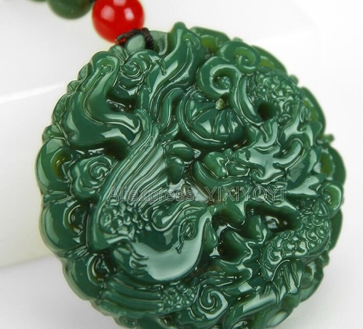 Beautiful Natural Green Hetian Jade Carved Chinese Dragon Phoenix Amulet Lucky Pendant + Free Necklace Certificate Fine Jewelry MX190816