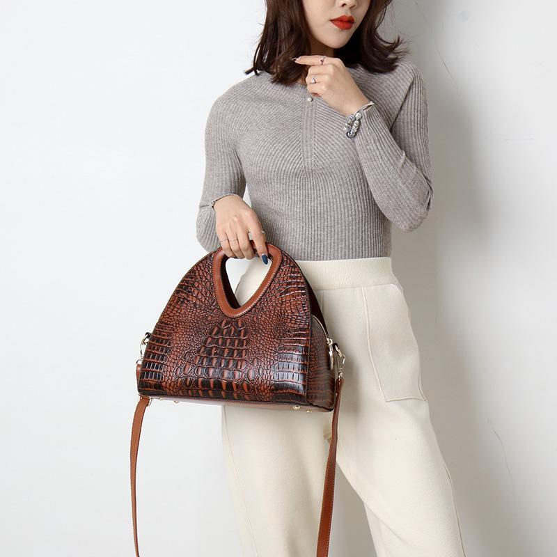 2019 New Alligator Women Handbag Leather Half Moon Women Shoulder Bags Designer Ladies Hand Bags Sac A Main Femme