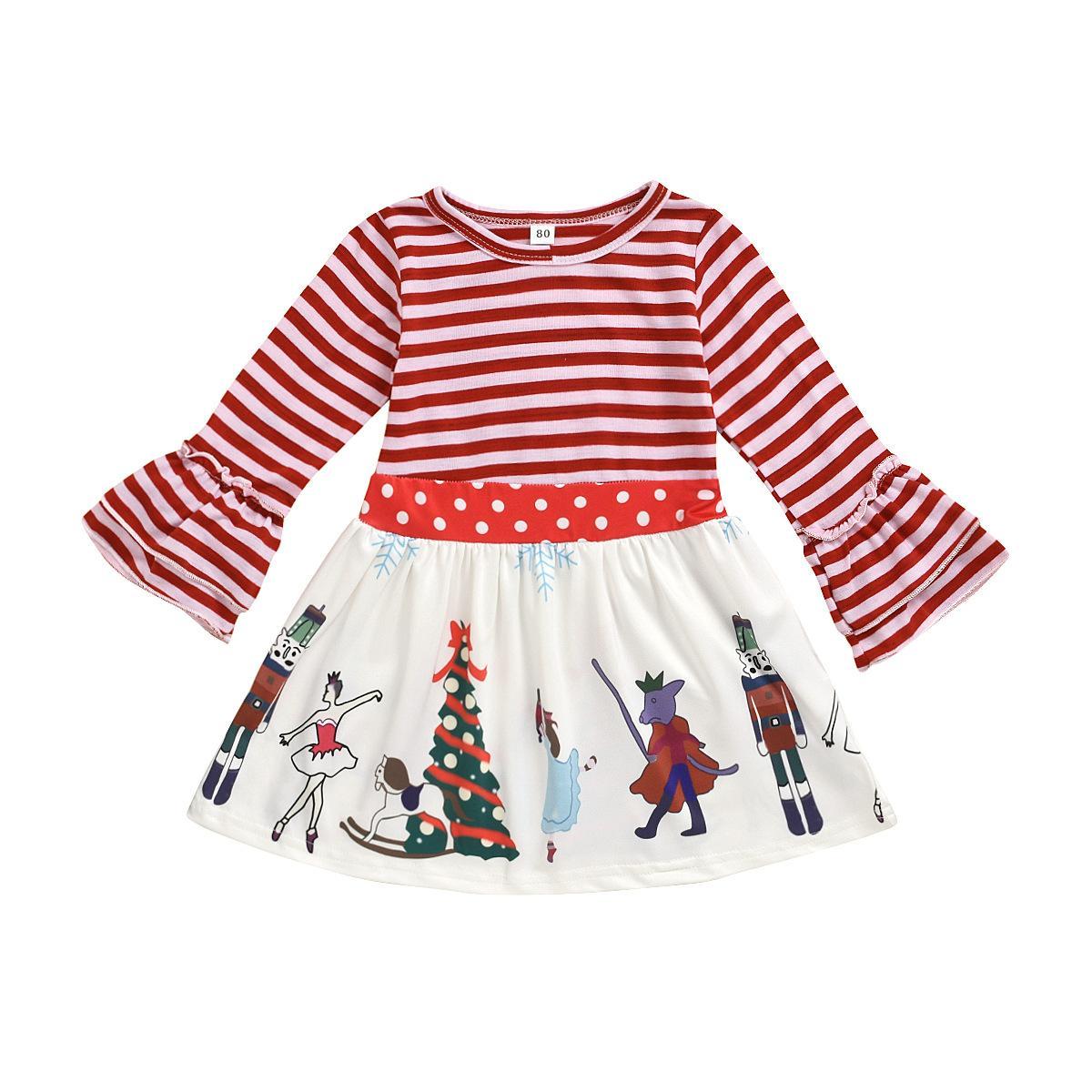 2020 새로운 아기 소녀 가격 드레스 봄 스트라이프 점 플레어 슬리브 파티 드레스 크리스마스 어린이 만화 인쇄 드레스 C6076
