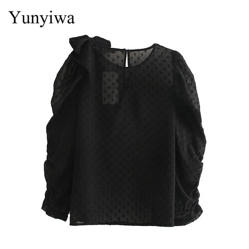 Donne Dolce Bowknot Decoration Black Chiffon Blouse Blouse Blouse Ufficio Lady Solder Sleeve Pleats Camicie Casual Kimono Femininas Tops