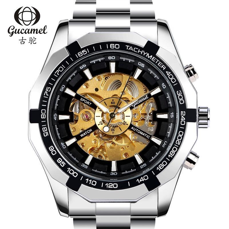 camelo antigo relógio openwork versão coreana relógio mecânico negócio relógio dos homens automático dos homens da classe alta
