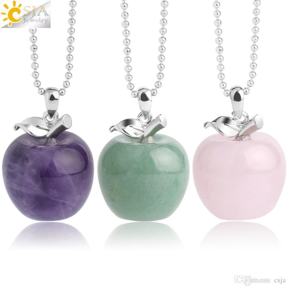 CSJA Suspensão da Apple Pedra Natural Pingente Pingentes de Cristal de Quartzo Bead colares Moda Jóias Femininas Mulheres presente G046 A