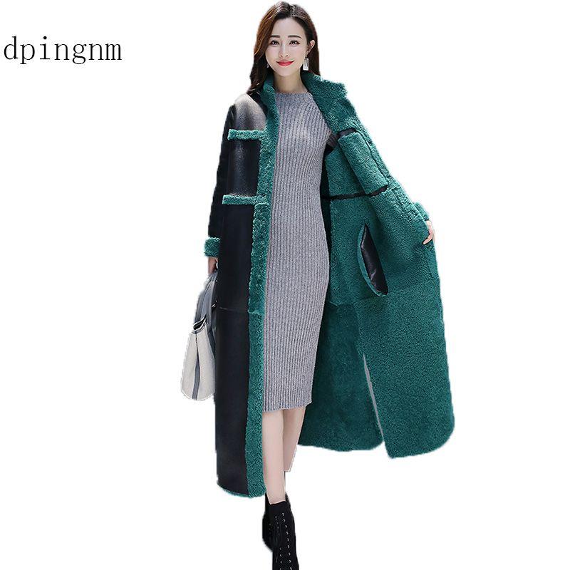 dpingnmSheep Shearling Fur Coats 2018 Long Warm Women's Fur Coat Female Winter Jacket Women Wool Overcoat WYQ917 SH190930