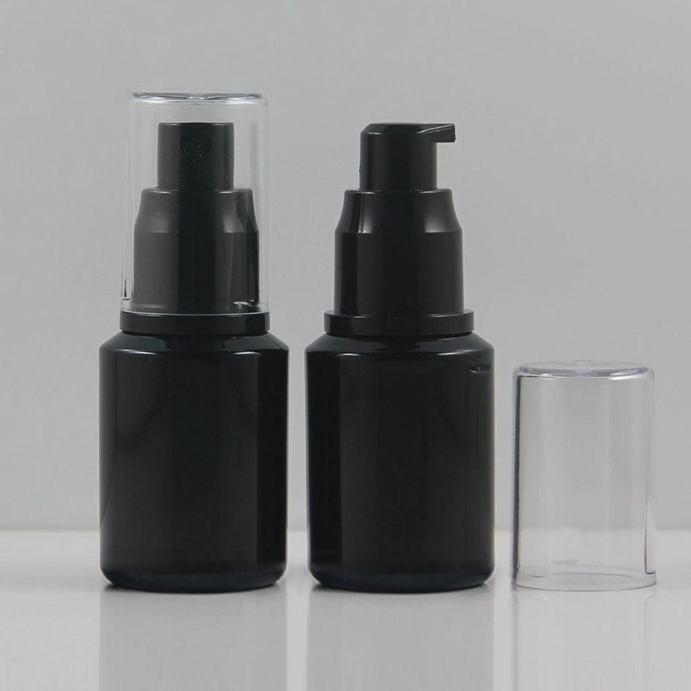 100pcs losyon pompa / püskürtücü ile siyah kozmetik şişesi 30ml, 1 oz makyaj bölgesinde alet temel şişesi