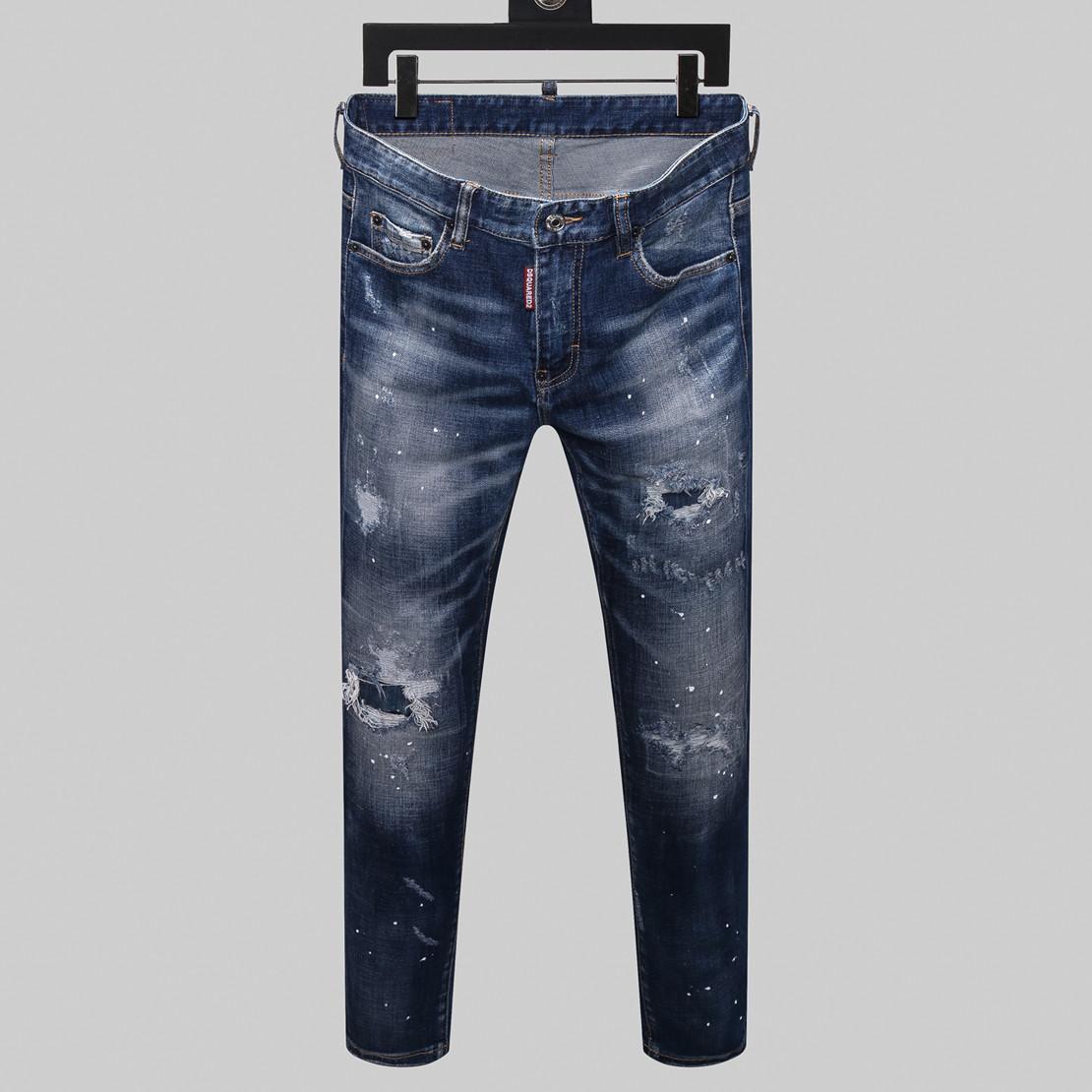 2020 Дизайнерские джинсы для мужчин Skinny Jeans рваные отверстия джинсы мотоцикла Байкер Джинсовые брюки Марка Мода Хип-хоп мужские бегуны