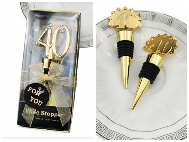 bomboniere 40 ° di 40 design della bottiglia del tappo del vino Regali per doccia nuziale partito favori e regali di accoglienza 40th Wedding 10pz