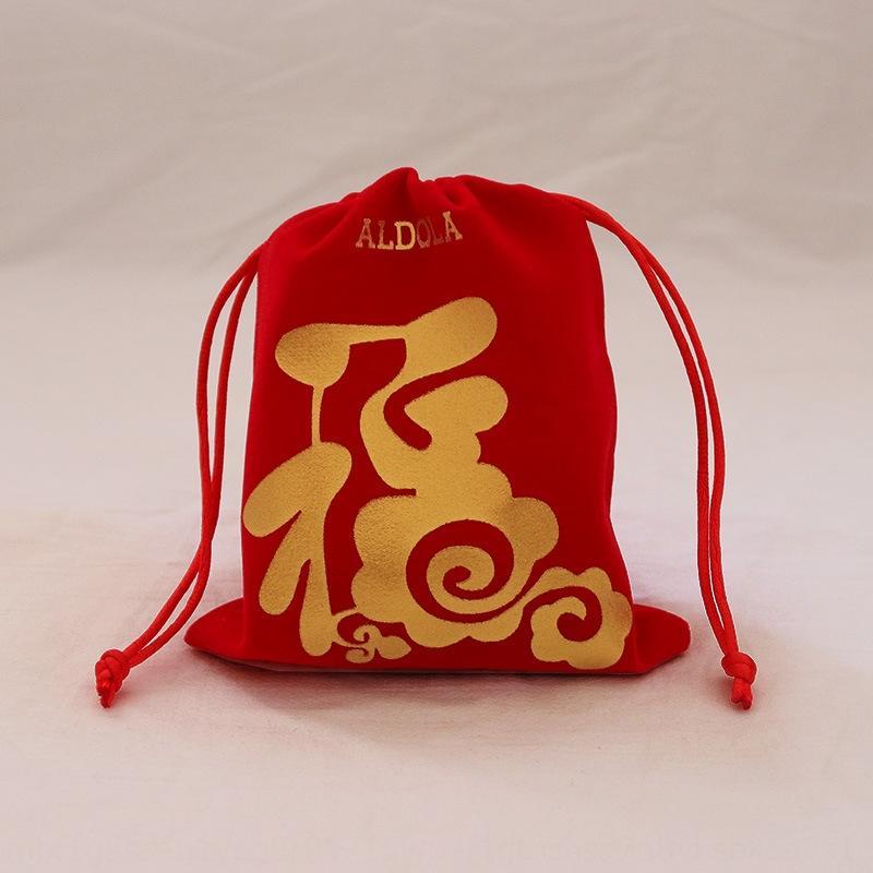 Rouge bronzante chanceux cadeau cadeau sac épaissi sac de flanelle de bijoux