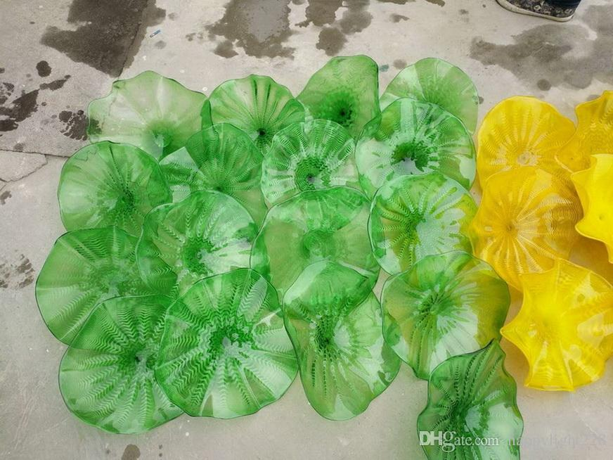 100% Hand Blown Dale Chihuly Style Hanging Plates Borosilicate Glass Flower Wall Art For Museum Gallery Deco