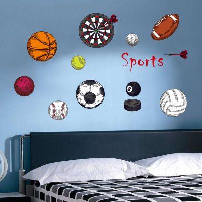 20190621 Futebol, basquetebol, voleibol, desenhos animados e bola adesivos de parede para o quarto das crianças esportes dardos decorativos adesivos de parede