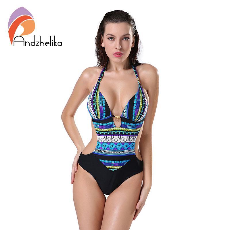 Wholesale-Andzhelika 2017 New One Piece Swimsuit Women Summer Bodysuit Sexy Brazilian Halter Swimwear Vintage Print Swim Suit Bathing Suit