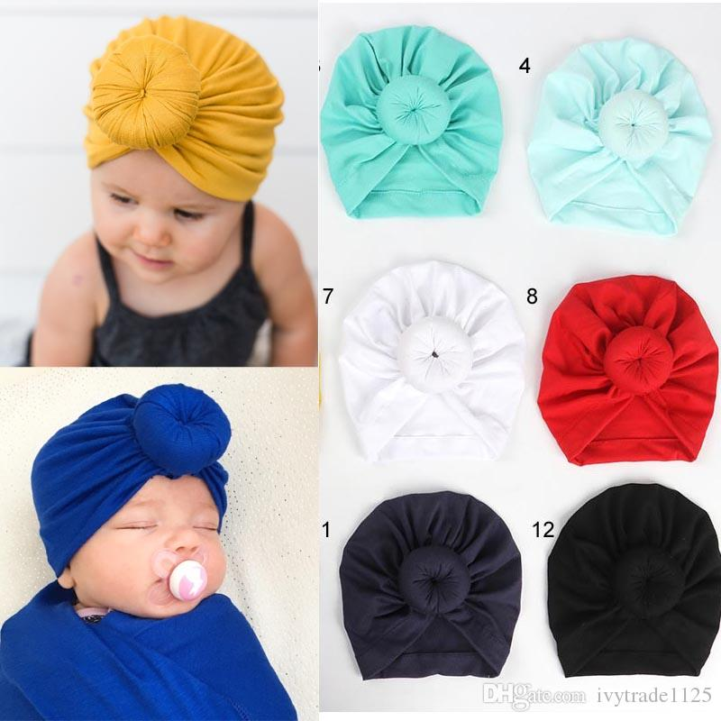 INS 12 Colors New Fashion Donut headbands Elastic Cotton Solid Colors Hair accessories Beanie Cap Multi color Infant Turban Hats