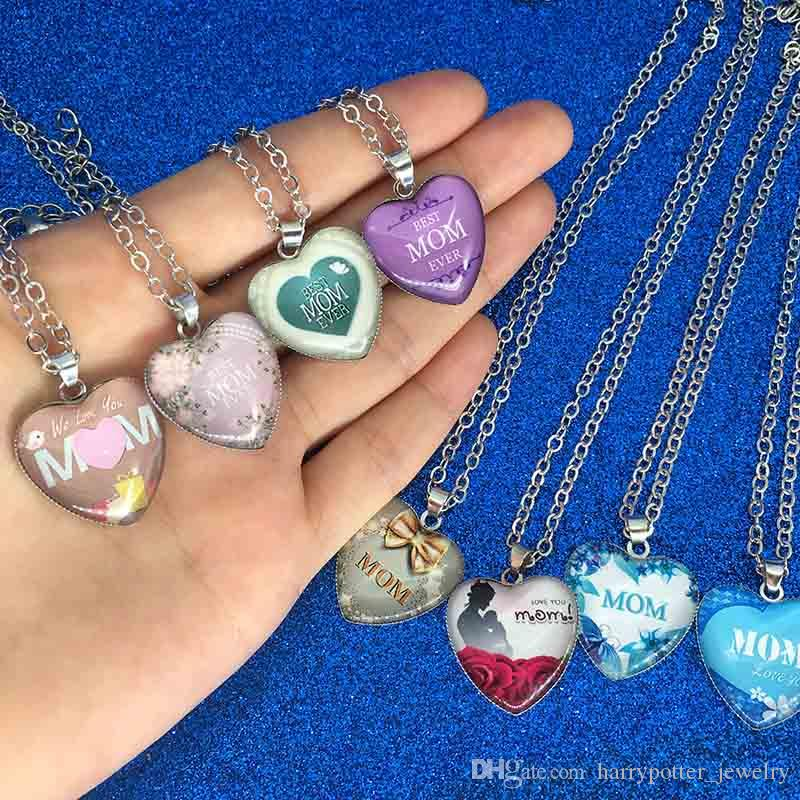 Forma amamos mamá Collar corazón de cristal colgantes del collar mejor mamá nunca joyería de moda regalo de la madre Will y nave de la gota de arena