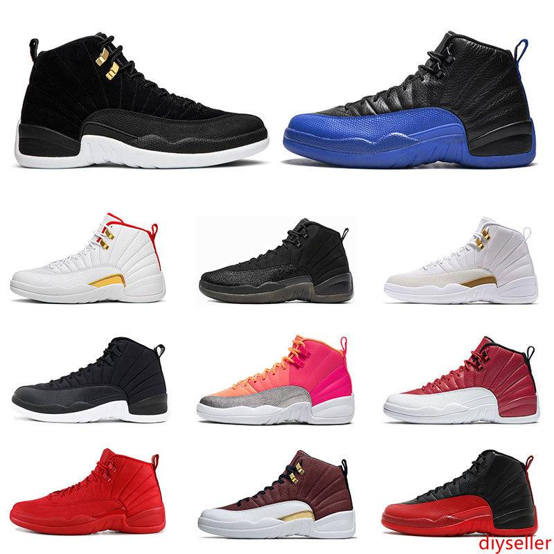 New Mens 12s basketball shoes Game Royal Reverse Taxi HOT PUNCH Nylon Gym Red 12 Flu Game Taxi sports sneaker trainers size 7-13