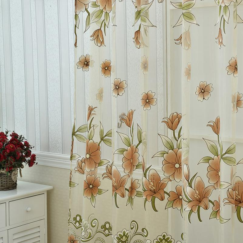 Peony Tulle Voile Curtain for Living Room Window Balcony Sheer Screening Curtains Burnout Floral Screening Panels