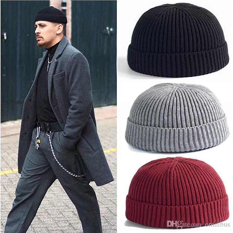 New Fashion Men Knitted Warm Hat Beanie Skull cap Sailor Cap Cuff Brimless Retro Navy Style Beanie Hat Free Shipping