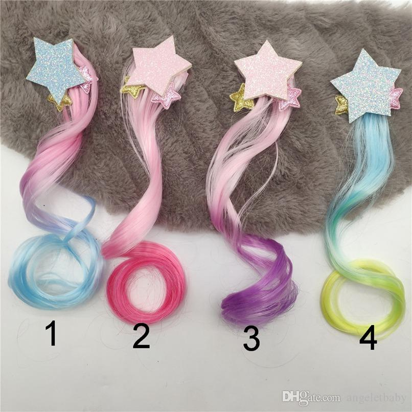 Hair Extensions Curly Wig for Kids Girls Princess Stars Head Hair Bows Clips Bobby Pins Hairpin Barrette Hair Accessories 0203