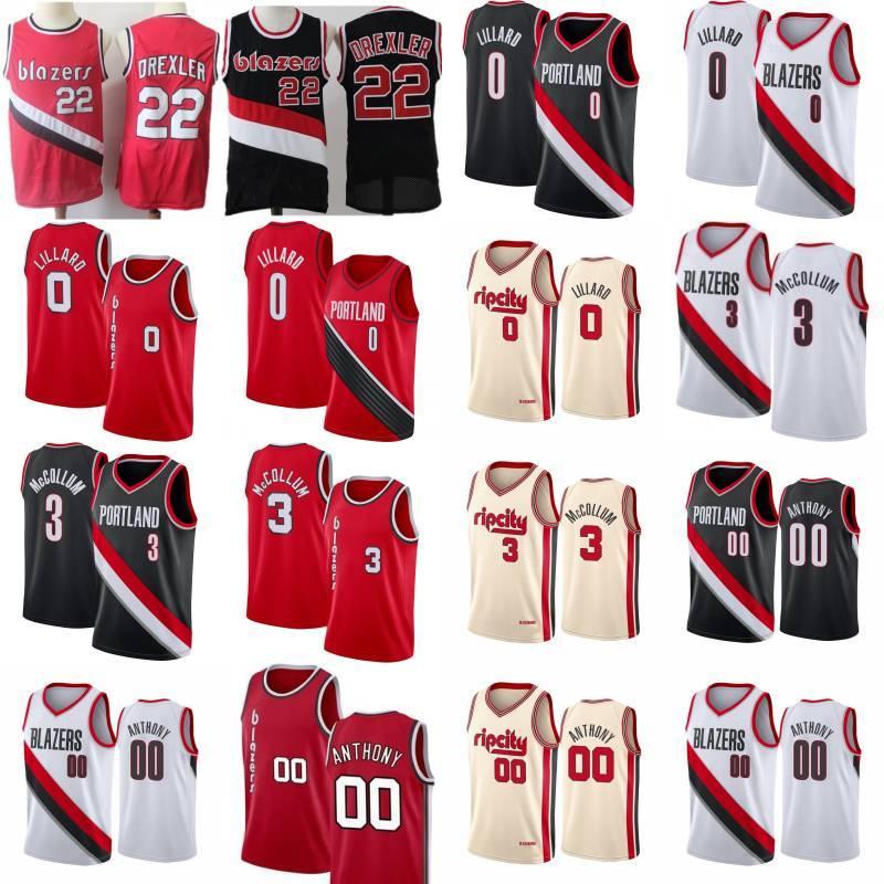 Clyde 22 Drexler Ncaa Carmelo 00 Anthony Basketball Jersey Mens Damian 0 Lillard CJ 3 McCollum Rip City Shirt