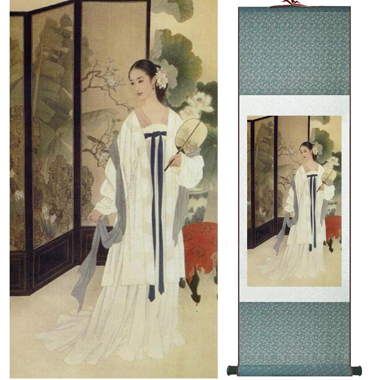 Traditional Chinese Pretty Girls Painting Home Office Decoration Beautifull Women Painting041012