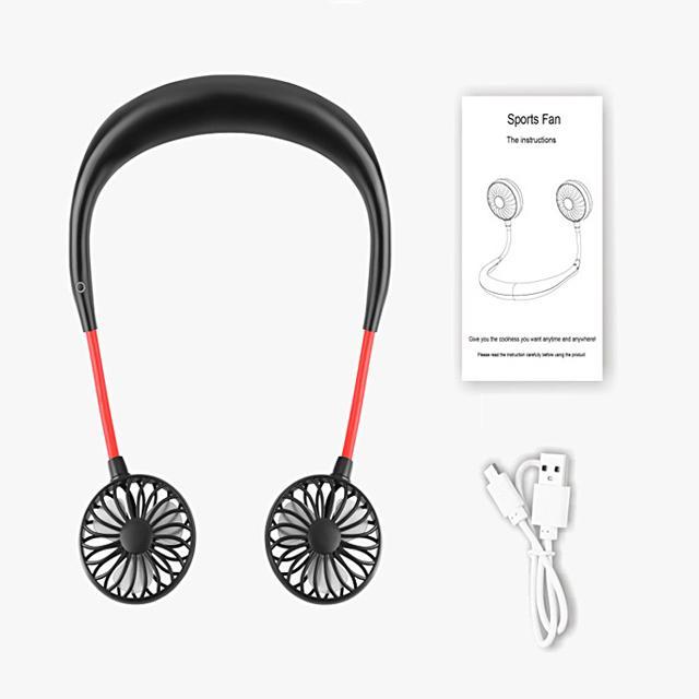 verano del ventilador flexible vendedora caliente de manos libres que cuelga del cuello fanbattery eléctrico recargable mini usb banda para el cuello aficionado a los deportes